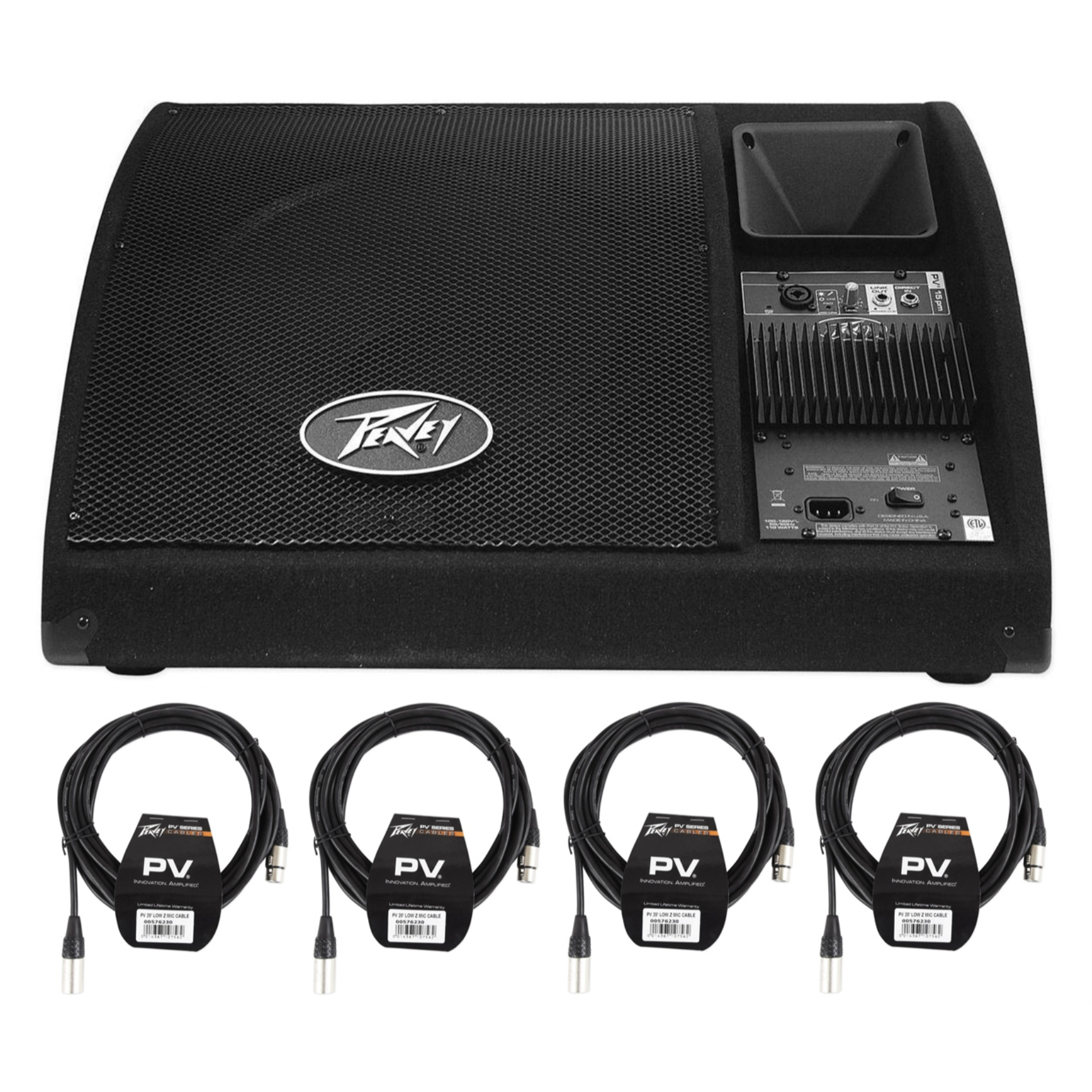 """Peavey PV 15PM 15"""" Bi-Amplified Powered Floor Monitors PV15PM + (4) XLR Cables by Peavey"""
