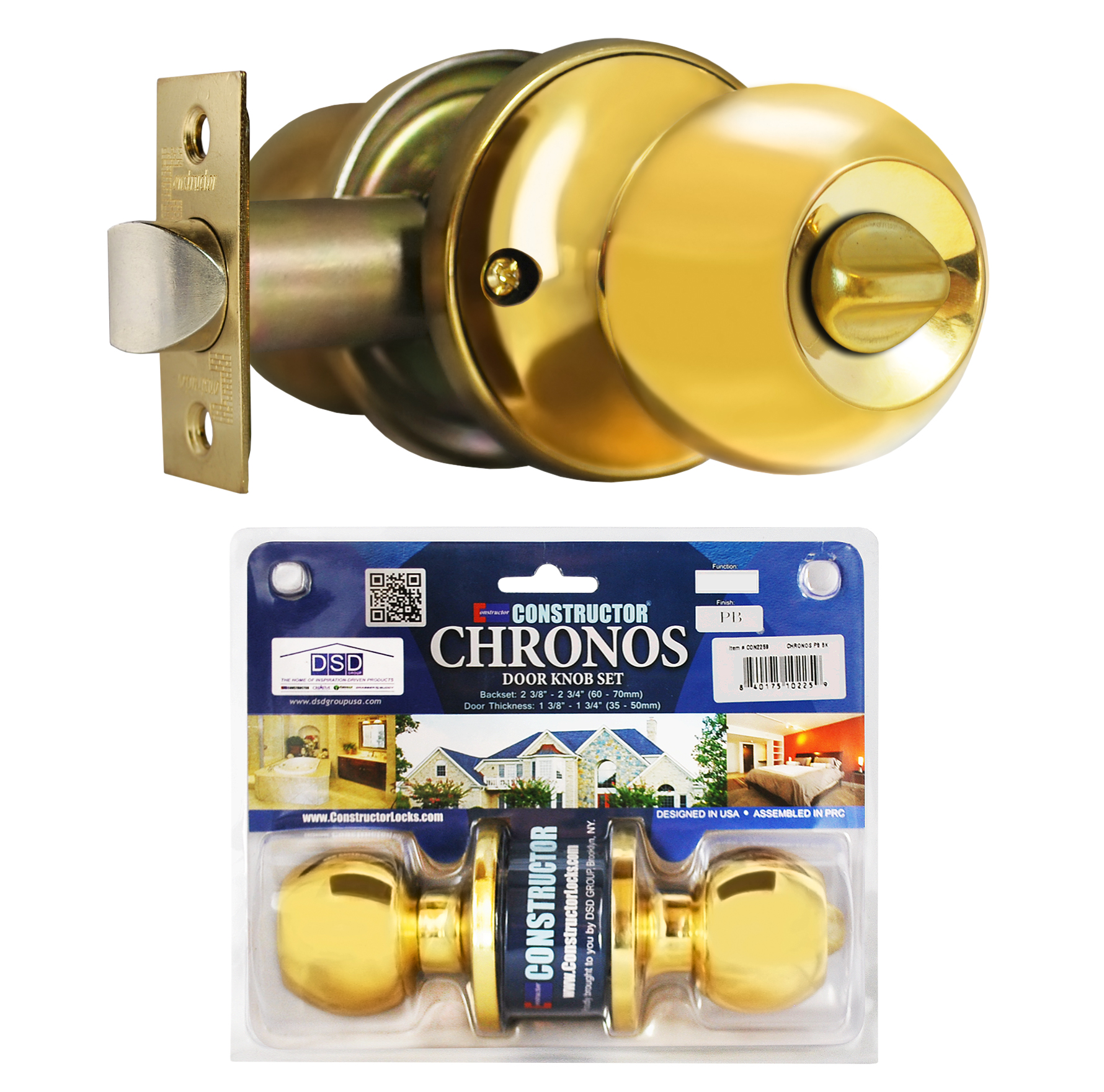 Constructor Chronos Privacy Door Knob Handle Lock Set for Bedroom and Bathroom Polished Brass Finish
