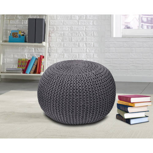 Urban Shop Round Knit Pouf Stool Poof Floor Cover Decor Seat Furniture Cushion Ebay