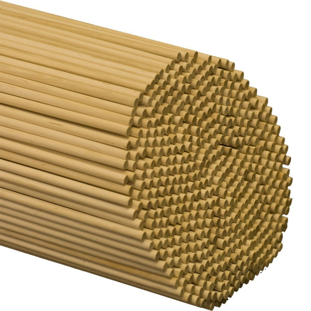"Wooden Dowel Rods – 1/4"" x 12"" Unfinished Hardwood Sticks – For Crafts and DIY'ers – 50 Pieces – Woodpecker Crafts"