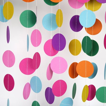 26Ft Set of 2 Rainbow Circle Paper Garland for Room Party Decorations Backdrop