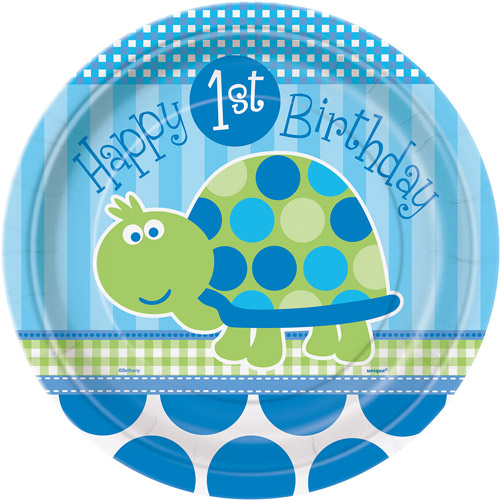 "9"" Turtle 1st Birthday Party Plates, 8ct"