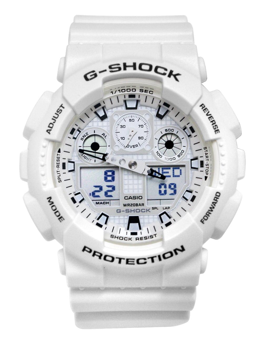 Casio GA100MW-7A G-Shock Analog Digital Dial White Resin Band Watch NEW 889232191461, BRC1 - $99