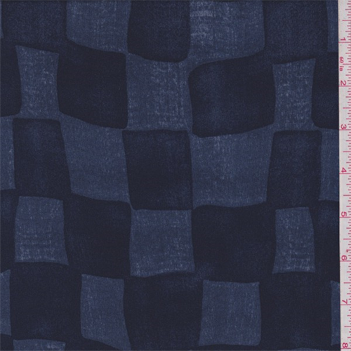 Navy/Denim Check Polyester Jersey Knit, Fabric By the Yard