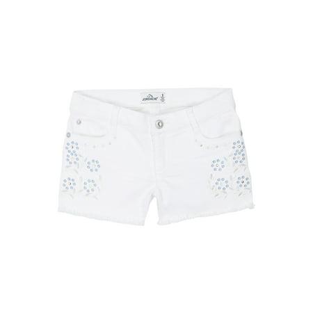 Jordache Embroidered Fray Hem Denim Short (Little Girls & Big Girls)