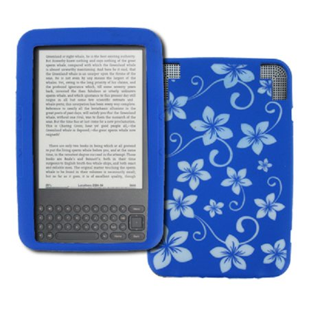 (EMPIRE Amazon Kindle 3 Blue with White Hawaiian Flowers Design Silicone Skin Case Cover [EMPIRE Packaging])