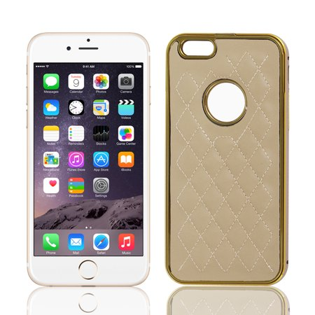 Metal Frame Rhombus Checked Pattern Shell Hard Case Cover Khaki For Iphone 6