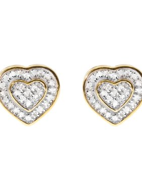93fc0f9a8 Product Image 10mm Dual Heart Earrings in Sterling Silver & Yellow Gold  Tone (0.30ct)