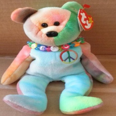 Tori Spelling Necklace - TY Beanie Babies Peace the Bear Plush Toy Stuffed Animal with Beaded Necklace