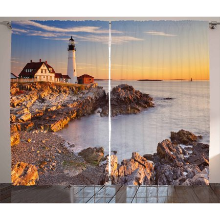 East Coast Lighthouses - United States Curtains 2 Panels Set, Cape Elizabeth Maine River Portland Lighthouse Sunrise USA Coast Scenery, Window Drapes for Living Room Bedroom, 108W X 63L Inches, Pale Blue Tan, by Ambesonne