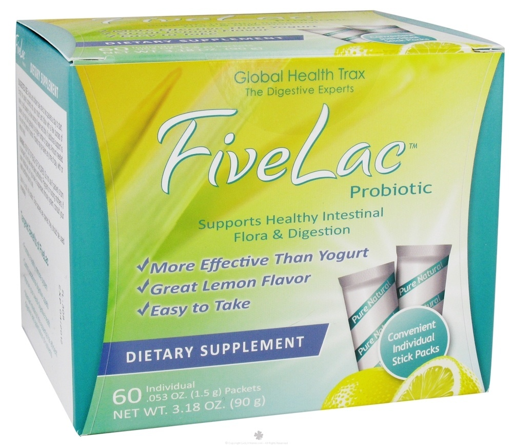 Global Health Trax (GHT) - FiveLac Probiotic Natural Lemon Flavor - 60 Packet(s)