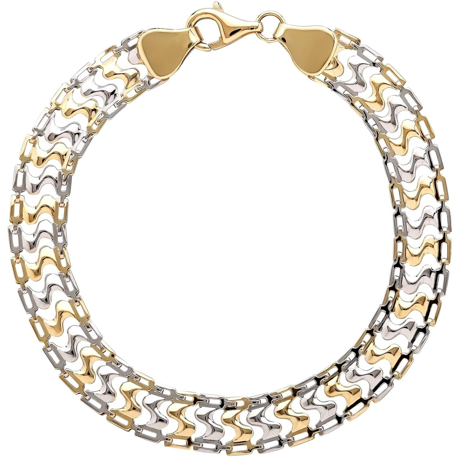 Simply Gold 10kt Yellow Gold with Rhodium S Shape Links Bracelet