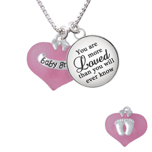 "Baby Girl Pink Heart with Baby Feet You are more Loved than you Know Glass Dome Necklace, 18""+2"""