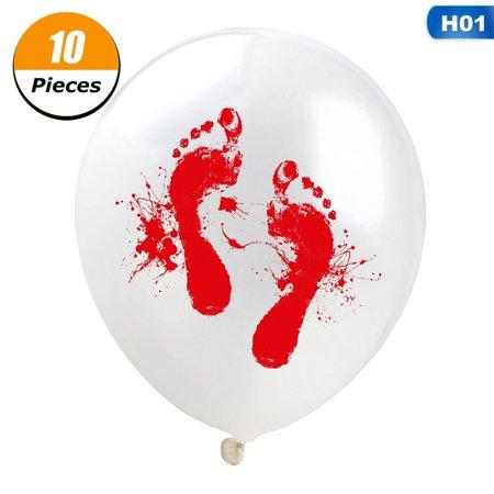 Handprint Footprint Art Halloween (Fancyleo 12 Inch Blood Handprint Blood Footprint Latex Balloon Halloween Party)