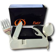 Joy Enterprises FP44470 Fury Camping Utensils with Detachable Fork, Spoon and Knife, All Stainless with Nylon Pouch