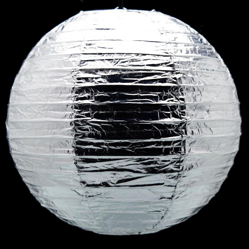 """Quasimoon 12"""" Silver Metallic Foil Paper Lantern, Even Ribbing, Hanging by PaperLanternStore"""