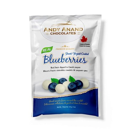 Andy Anand Chocolates Premium California Greek Yogurt Coated Blueberries, All Natural, Made from Natural