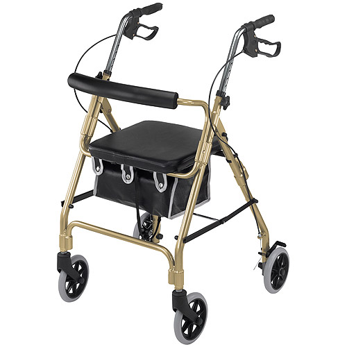 DMI Ultra Lightweight  Aluminum Rollator with Curved Backrest and Pouch, Gold