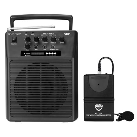 Nady WA-120BT LT Wireless Portable compact P.A full-range speaker system with built-in amplifier, BLUETOOTH, mp3 player, mixer, lavalier wireless (Mp3 Speaker System)