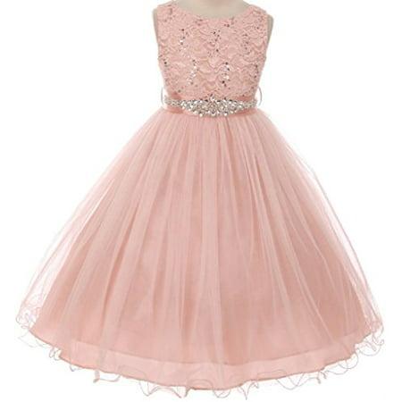 Big Girls' Sparkly Sequins Dress Detachable Rhinestone Crystal Sash Flowers Girls Dresses Blush 10 (M3B4K0CB)](Flowers By Zoe Sequin Dress)
