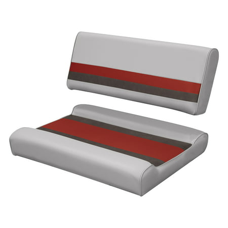 Wise 8WD125FF-1012 Deluxe Series Pontoon Flip Flop Bench Seat and Backrest Cushion Set, Grey/Red/Charcoal