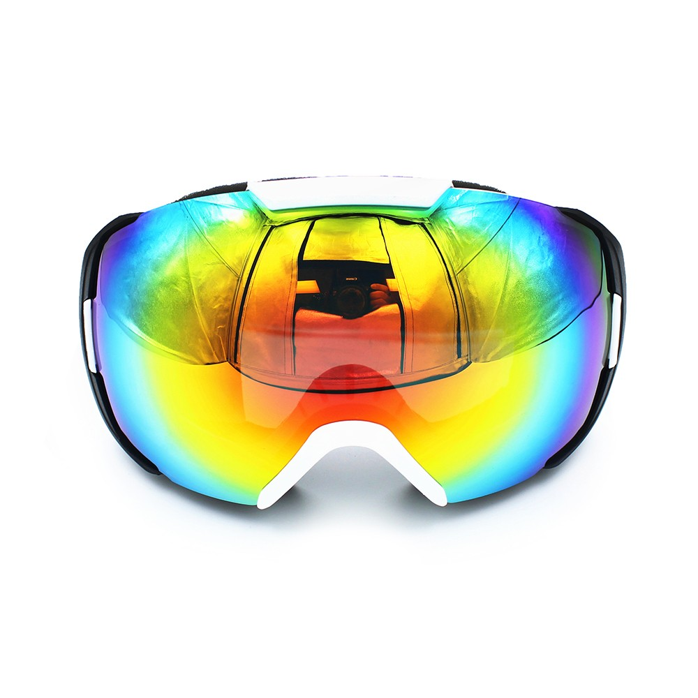 Ediors Snowboard Ski Goggles Double Anti-Fog Lens Black White Frame by Ediors