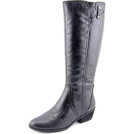 Dr. Scholl's Brilliance Wide Calf Women Round Toe Leather Black Knee High Boot Black Leather Calf Boot
