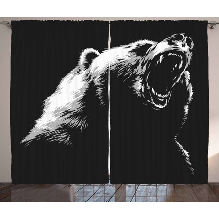 Bear Curtains 2 Panels Set, Sketch Line Art Style Roaring Carnivore Fur and Fangs Aggressive Predator Fauna, Window Drapes for Living Room Bedroom, 108W X 90L Inches, Black White Grey, by Ambesonne for $<!---->