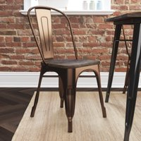 Better Homes and Gardens Aidan Metal Dining Chair with Wood Seat, Set of 2, Multiple Colors