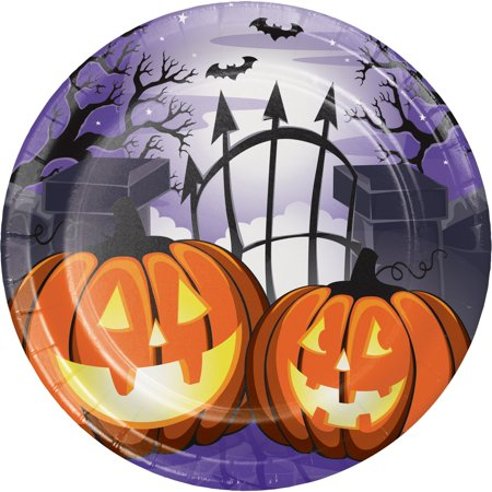Halloween Party Central Park (Pack of 96 Jack-O'-Lantern Graveyard Halloween Disposable Party Luncheon Plate)
