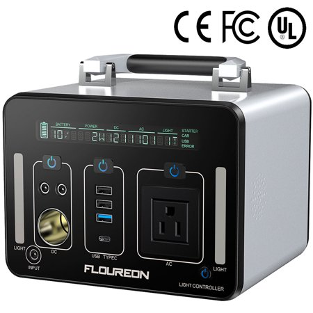 Portable Power Station, FLOUREON 500Wh 140400mAh Solar Generator for home use with 250W AC Outlet, 12V Car, 60W Type-C USB Output Lithium Power Supply for camping Road Trip Emergency Backup (Power Backup Generator)