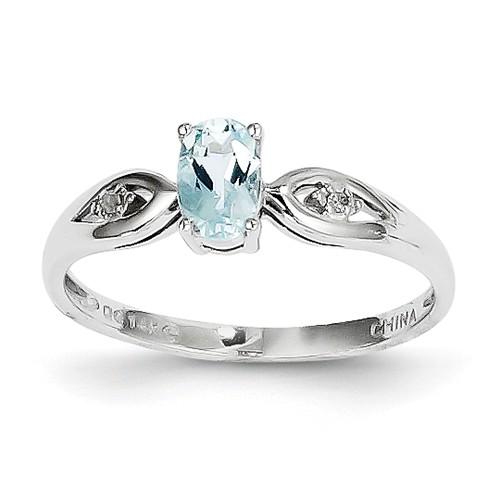 14k White Gold 6x4 Oval Genuine Aquamarine Diamond Ring. Gem Wt- 0.43ct by Jewelrypot