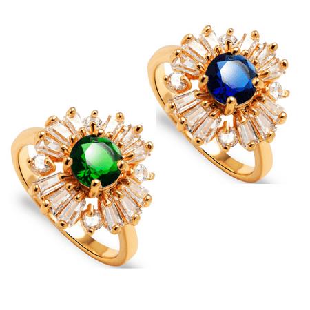 ON SALE - Crystal Garden CZ Flower Cocktail Ring 6.75 / Emerald -