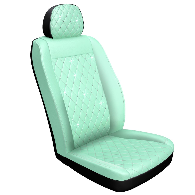 Premium Mint Diamond Stitch Seat Cover with Crystals from Swarovski