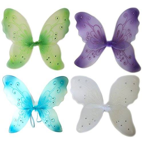 "Perfectmaze 21""x14"" Sparkling Fairy Butterfly Wings Dress Up Pixie Costume Halloween (4 Pieces)"