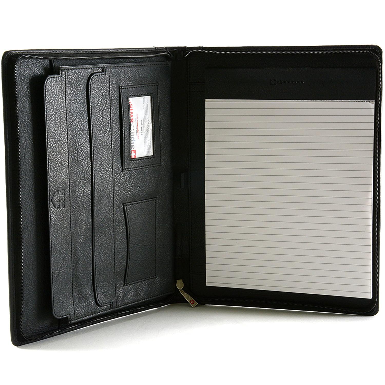 alpine swiss leather zippered writing pad portfolio business briefcase organizer walmartcom