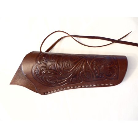 Cross Draw Gun Holster - Brown - Tooled Leather - 6