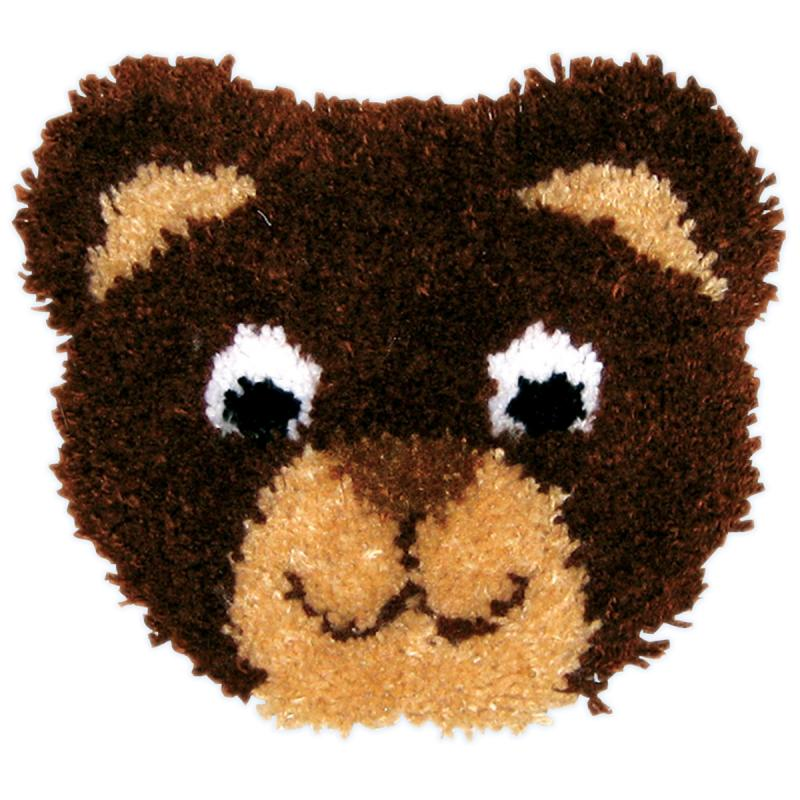 "Huggables Teddy Pillow Latch Hook Kit, 13"" x 11"""