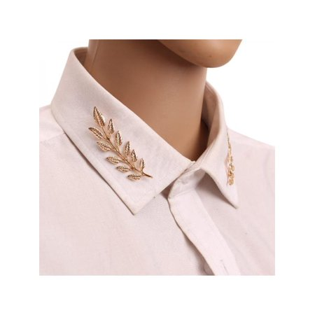 Lavaport Vintage Leaf Shape Collar Skirt Brooch Clip Clothes