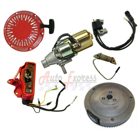 FITS HONDA GX200 ELECTRIC STARTER MOTOR W RECOIL IGNITION COIL CHARGING FLYWHEEL NEW