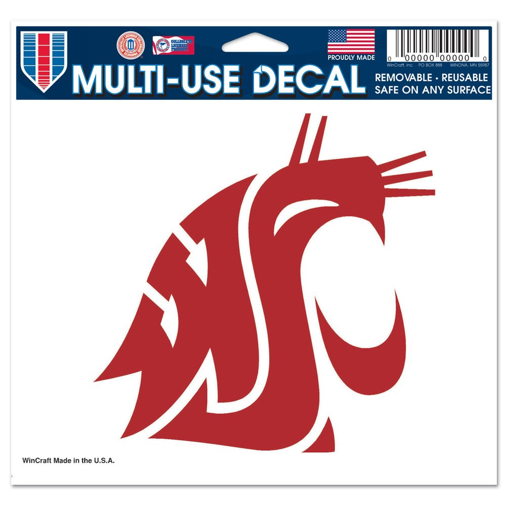 Washington State Cougars Official NCAA 4 inch x 6 inch Car Window Cling Decal by WinCraft