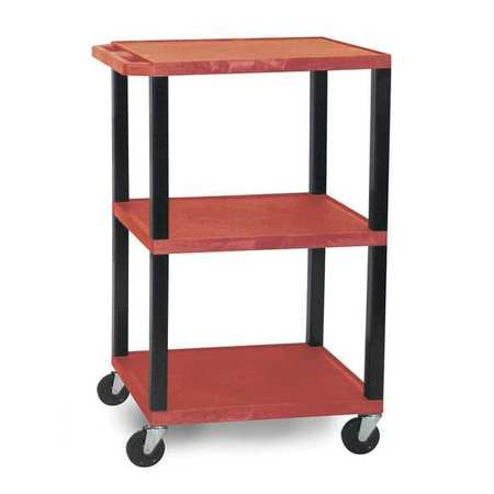 Utility Cart,300 lb. Cap.,Resin,2 Shlvs ZORO SELECT WT42RE-B