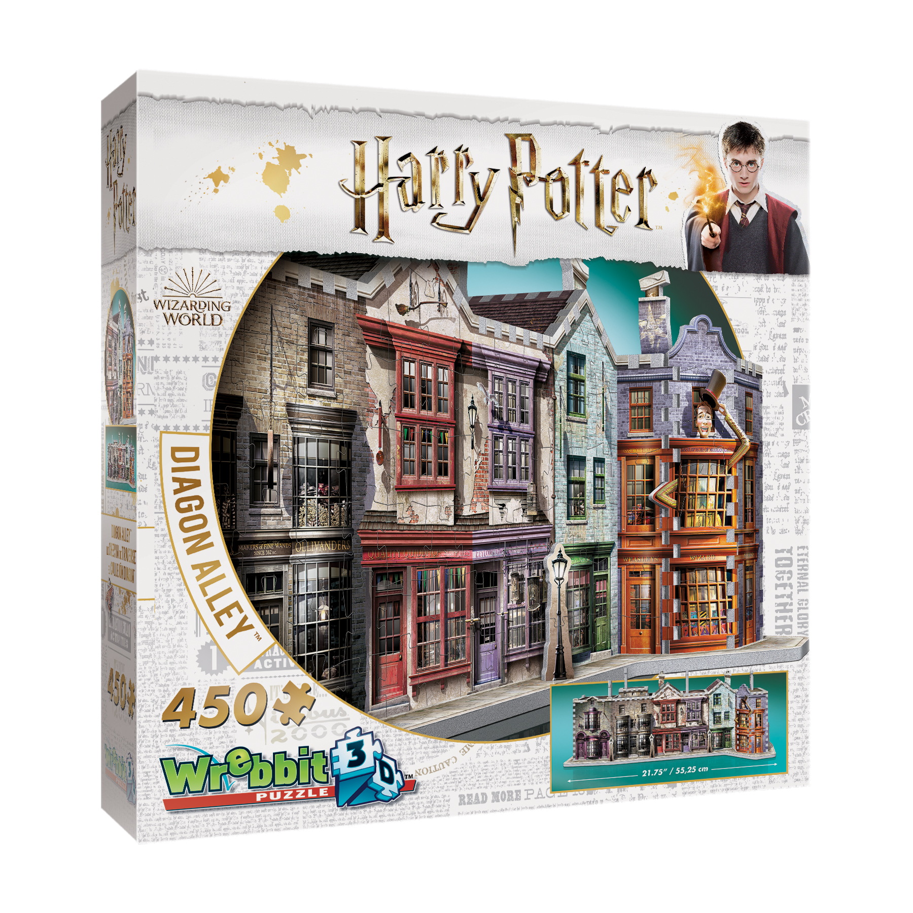 Harry Potter Collection Diagon Alley 3D Puzzle: 450 Pcs by Wrebbit