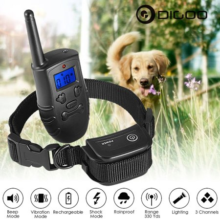 Digoo DG-PPT1 Dog Traning Collar Trainer - LCD Electric Remote -100LV Shock Pet Bark -  XXS, XS, S, M, L, XL, XXL - Waterproof Rechargeable