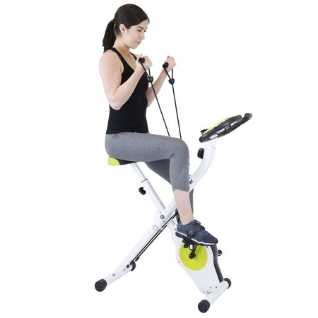 Xspec Indoor Stationary Upright Exercise Bike with Resistance Bands, Lime
