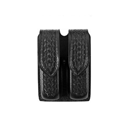 S and W 59 Hidden Snap Double Handgun Magazine Pouch (Basketweave Black), Design matches all 2.25 duty belts By Safariland Duty Gear