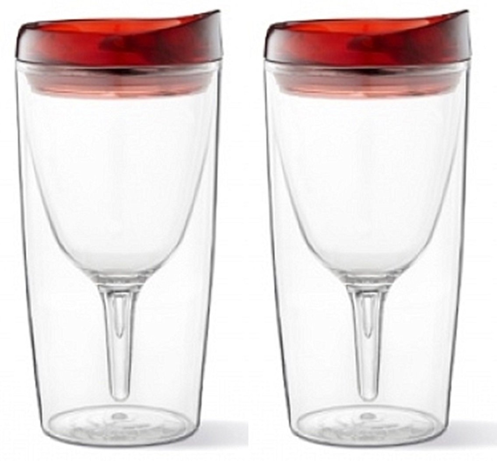 Vino2Go Double Wall Insulated Acrylic Wine Cup Tumbler with Deluxe Merlot Slide Top Drink Lid, 10 oz, Set of 2