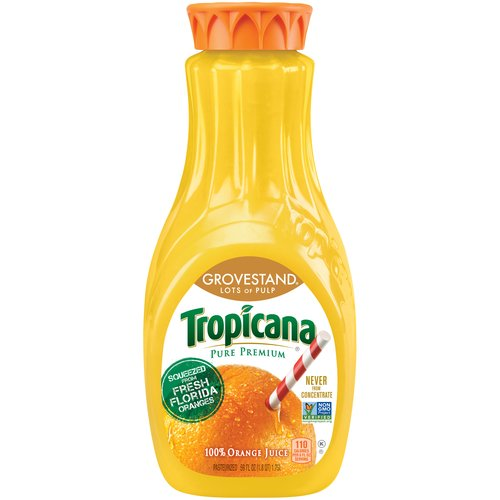 Tropicana Pure Premium Grovestand Lots of Pulp 100% Orange Juice, 59 fl oz