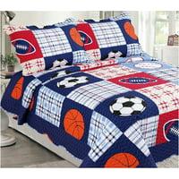 Fancy Linen 3pc Full Bedspread Quilt Set Boys Sports Football Dark Blue New