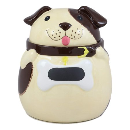 """Ebros Ceramic Adorable Fat Puppy Dog With Brown Eye Patch Cookie Jar 7.25""""Tall Decorative Kitchen Accessory Figurine As Decor of Dogs Puppies With Painted Bone Collar"""